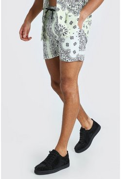 Lemon Mid Length Bandana Print Swim Shorts