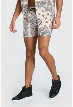 Peach Mid Length Bandana Print Swim Shorts