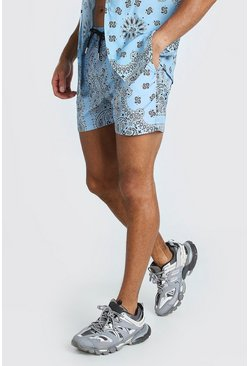 Blue Mid Length Bandana Print Swim Shorts