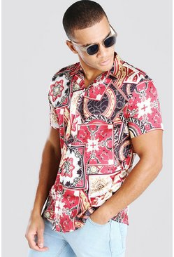 Red Short Sleeve Baroque Print Satin Shirt