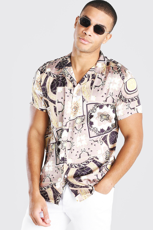 mens short sleeve baroque print satin shirt - metallics