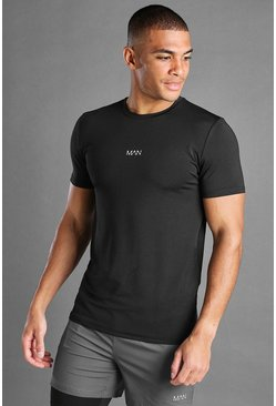 Black Muscle Fit Active T-Shirt With Print