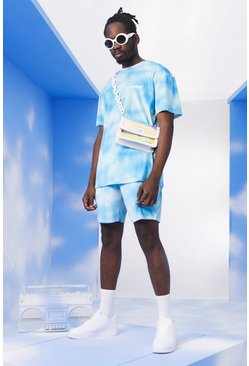 Light blue MAN Tie Dye Velour T-Shirt & Short Set