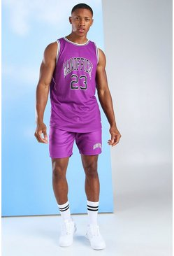 Purple MAN Official Basketball Vest & Short Set
