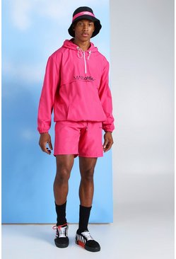 Pink MAN Official Neon Nylon Cagoule & Short Set