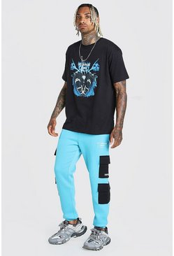 Blue MAN Official Graphic T-shirt & Cargo Jogger