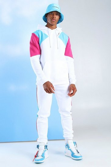 White Man Official Colour Block Hooded Tracksuit