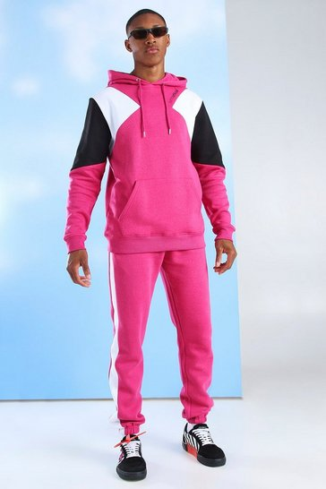 Pink MAN Official Colour Block Hooded Tracksuit