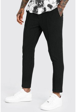 Black Skinny Pinstripe Cropped Smart Pintuck Trousers