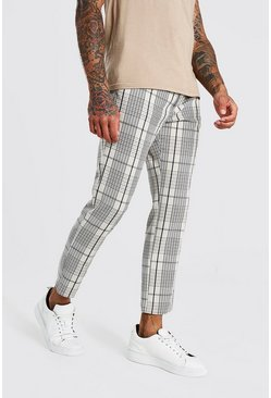 Stone Skinny Check Cropped Smart Pants