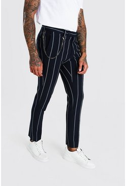 Navy Skinny Stripe Chain Detail Smart Pants