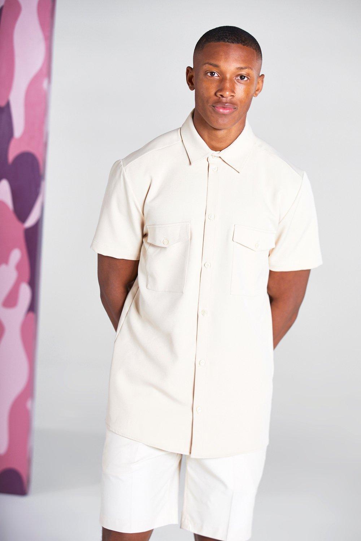 Mens Vintage Shirts – Retro Shirts Mens Short Sleeve Utility Pocket Smart Shirt - Beige $10.00 AT vintagedancer.com