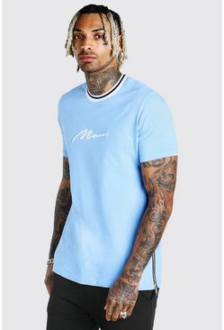 Blue MAN Signature Sports Rib T-Shirt With Zips