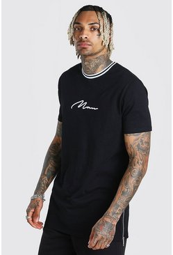 Black Longline MAN Signature Sports Rib Tee With Zips