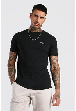 Black Muscle Fit MAN Signature Smart Ribbed T-Shirt