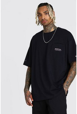 Oversized MAN Official Pocket T-Shirt, Black