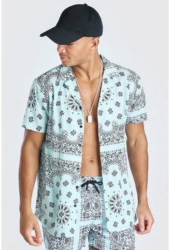 Short Sleeve Bandana Print Shirt , Mint