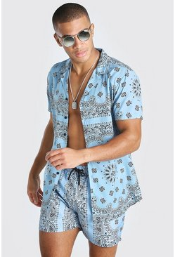 Short Sleeve Bandana Print Shirt , Blue