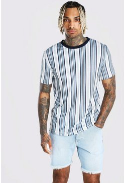 White Vertical Stripe T-Shirt