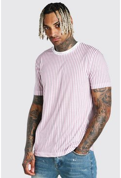 Pink MAN Signature Vertical Stripe T-Shirt