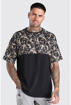 Oversized Baroque Panel T-Shirt With Badge, Black