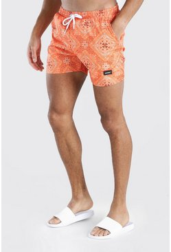Orange MAN Official Mid Length Bandana Print Swim Short