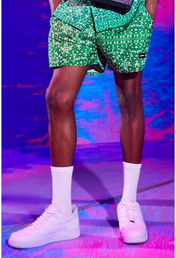 Green MAN Official Mid Length Bandana Print Swim Short