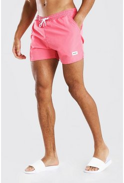 MAN Official Mid Length Swim Shorts With Tab , Coral