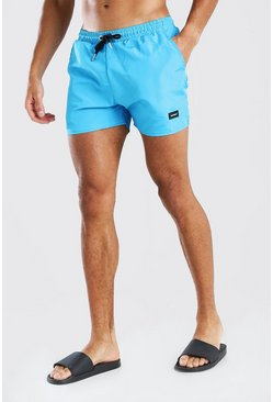 Blue MAN Official Mid Length Swim Shorts With Tab