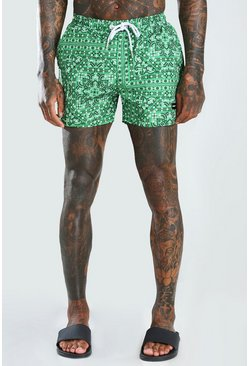 Green MAN Official Mid Length Swim Shorts With Tab
