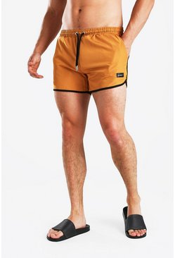 Burnt orange MAN Official Runner Swim Short With Tab