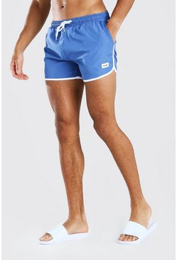 Dusty blue MAN Official Runner Style Swim Short With Tab