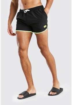 Black MAN Official Runner Style Swim Short With Tab