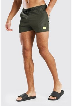 Khaki MAN Official Short Length Swim Short With Tab