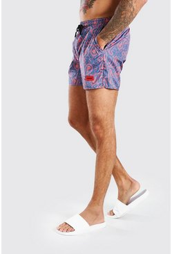 Black MAN Official Mid Length Swim Short In Paisly Print