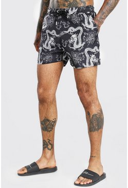 Black Short Length Dragon Print Swim Short