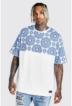 Oversized Tile Print Panel T-Shirt With Badge, White