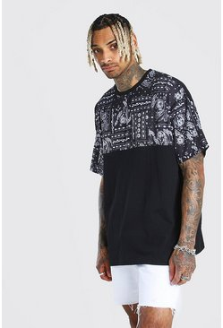 Oversized Paisley Panel T-Shirt, Black