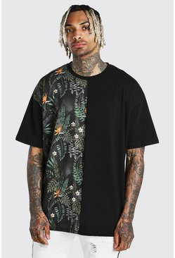 Black Oversized Tropical Print Spliced T-Shirt With Badge