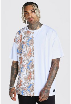 Oversized Paisley Spliced T-Shirt With Badge, White