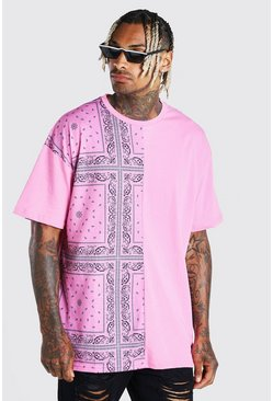 Pink Oversized Bandana Spliced T-Shirt With Badge