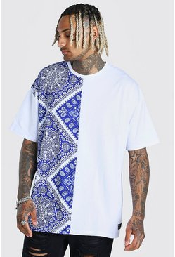 White Oversized Spliced Tile Print T-Shirt With Badge