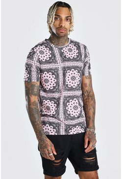 Bandana Repeat Print T-Shirt, Pink