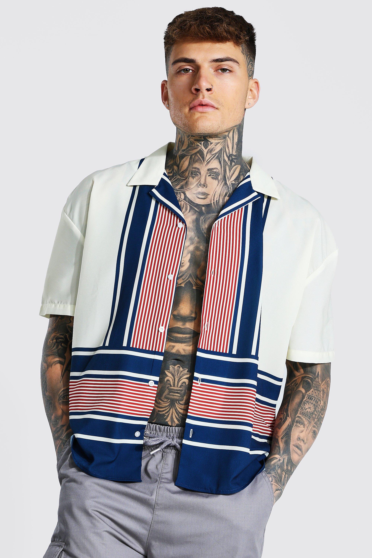Mens Vintage Shirts – Casual, Dress, T-shirts, Polos Mens Boxy Fit Short Sleeve Revere Stripe Shirt - White $19.20 AT vintagedancer.com