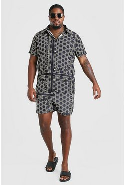 Black Big And Tall Border Shirt And Swim Set