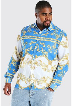 Blue Big And Tall Long Sleeve Baroque Print Shirt