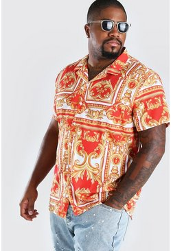 Big And Tall Short Sleeve Baroque Print Shirt, Red