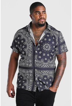 Black Big And Tall Short Sleeve Bandana Print Shirt