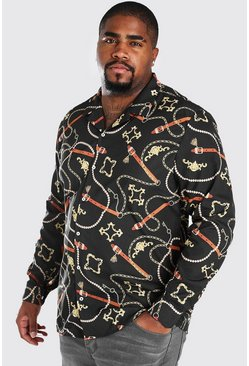 Big And Tall Long Sleeve Chain Print Shirt, Black
