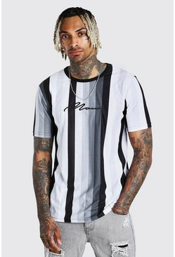 Grey MAN Signature Vertical Stripe T-Shirt